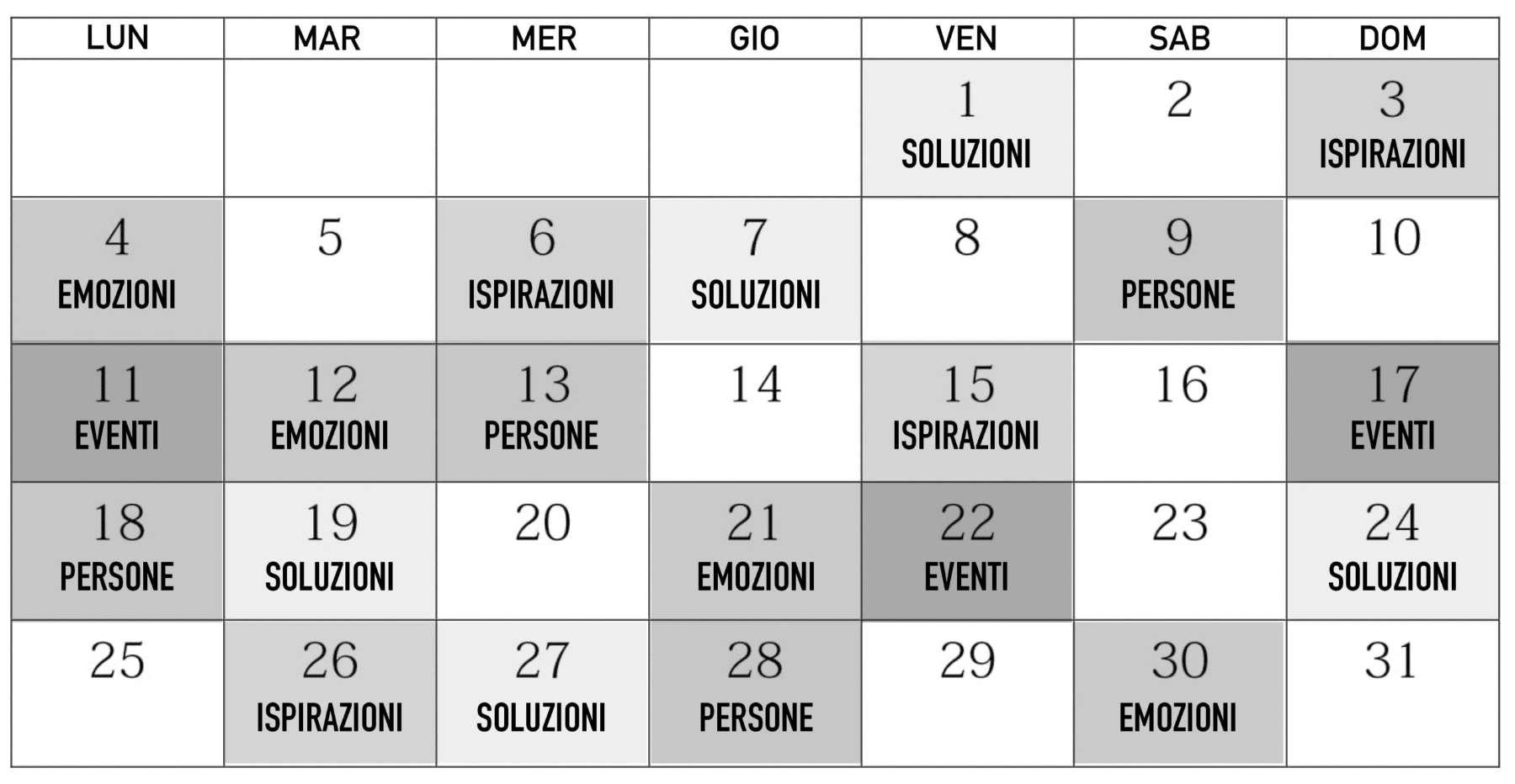 Piano Editoriale, Calendario Editoriale